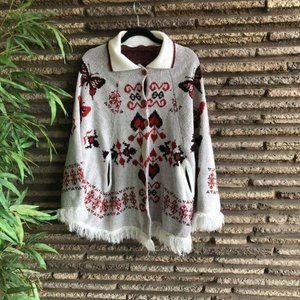 Vintage 70's Butterfly & Heart Fringed Cape